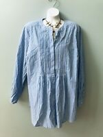 Woman Within Blue White Pleated Tunic Top Plus Sz L 18/20 Pullover Long Sleeve