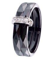 Bague 2 anneaux en Céramique Noire et Zirconium - Argent Massif - TAILLE 52