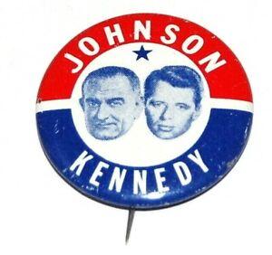 1964 LBJ LYNDON B. JOHNSON ROBERT KENNEDY campaign pin pinback button political