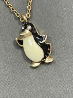 "Vintage Necklace Enameled penguin crystal  Eyes Gold Tone Chain Pendant 16"""