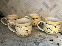 Set of 4 TEMPTATIONS BY TARA Old World Yellow Floral 12 oz Coffee Cups Mugs