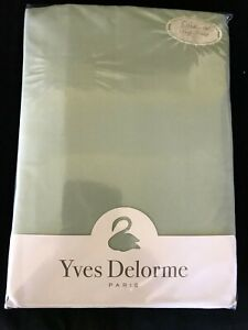 Yves Delorme Roma Celadon Green Cal King Fitted Sheet 190x215CM 500TC Cotton NWT