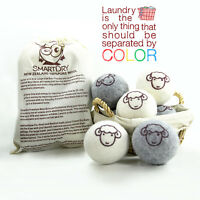 All Natural Organic Wool Dryer Balls Fabric Softner Reusable Large Ball, 6 Pack