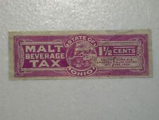 OHIO STATE MALT BEVERAGE TAX STAMP, 1 1/2 CENTS