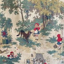 Vintage French little Red Riding Hood fabric 1920 -1930 cotton material