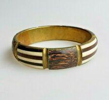 Vintage bracelet ethnic tribal wood brass and cow bone bangle