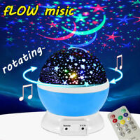 Rotating Star Projector Baby Night Light Nursery Room Light MUSIC W/ Remote Gift