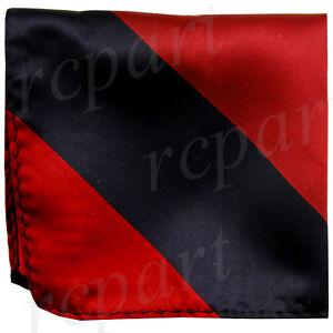 New men's polyester stripes pocket square hankie handkerchief black red formal