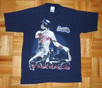T Shirt Vintage 90s Atlanta Braves Chipper Jones MLB Baseball Youth Large 14-16