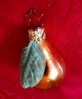 "VINTAGE OLD WORLD CHRISTMAS ORNAMENT - MINI PEARS 2""  FABRIC LEAF"