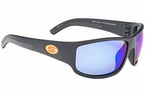 Strike King S11 Caddo Sunglasses, Black/Blue Mirror - SG-S11713