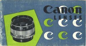 Canon Rangefinder Lenses Instruction Manual (9-58) Original