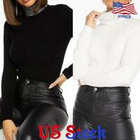 Women Long Sleeve T-Shirt Slim Fit Crystal Turtle neck Pullover High Tops Blouse