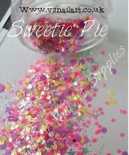 Nail Art Glitter Mix ( Sweetie Pie ) Bag Chunky Stars Body Face Dots Summer Pink