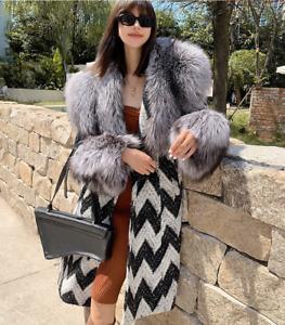 Winter Luxury Sliver Fox Fur Jacket Womens Thicken Faux Fox Fur Collar Overcoat