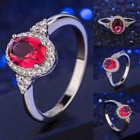 Mode Frauen Schmuck Ehering Oval geschnitten Rubin 5-11 Größe Ring U7S4