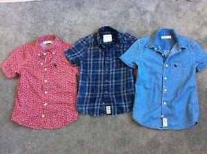 3 x Boys Abercrombie & Fitch Boys summer short sleeved Shirt Bundle 7-8 Denim