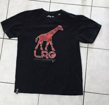 LRG Mens T-Shirt Size Large - Red Camo Giraffe Graphic on Black Shirt