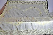 Vintage Linen TABLECLOTH Applique LACE Openwork UU845