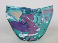 "Stephen R. Nelson 1990 Signed Studio Art Glass Abstract Multicolor Vase, 9"" x 7"""