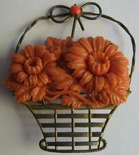 VINTAGE CORAL COLOR CELLULOID CARVED FLOWERS IN GOLD WASHED STERLING BASKET PIN*