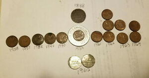 LOT OF OLD CANADIAN COINS AND GOOD LUCK PIECEwith CANADIIAN COIN