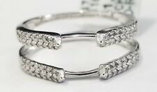 10k White Gold Round Diamonds Solitaire Enhancer Wedding Ring Guard Wrap 0.25 ct