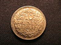 5 NETHERLANDS Coins 10 Cent w 3 Silver 1939 1941 1944 1948 1958 BU+ Nederlanden