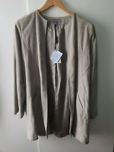 Jaeger Leather Jacket Size 10 Limited Edition MARKED Autumn Winter Long Sleeve