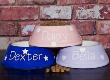Extra Small Personalised Ceramic hand painted cat kitten dog puppy polka bowl