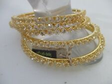 Lee Angel NEIMAN MARCUS Brilliant gold Crystal Bangle Stackable Set of 5 NWT 150