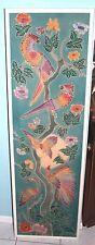 "Bird and Floral Original Batik Art Signed 57"" x 17.5"" Very Colorful"