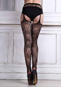 Hot Women Lace sexy Lingerie Garter Belt Thigh High Pantyhose Fishnet Stocking