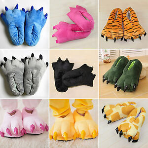 Adult Kids Animal Monster Feet Slippers Claw Dinosaur Paw Plush Funny Shoes
