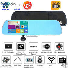 """5"""" 1080p Android GPS Car DVR Camera Dual Lens WiFi Rearview Mirror Touch Screen"""