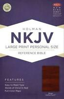 NKJV Large Print Personal Size Reference Bible, Brown LeatherTouch - Holman Bibl