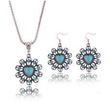 Tibetan Silver Green Turquoise Chain Pendant Necklace Earrings Set N15