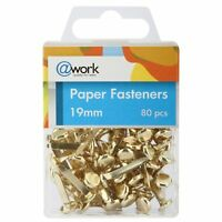 PAPER FASTENERS SPLIT BUTTERFLY CLIPS PINS, BRASS PLATED COLOR 19mm 80pcs
