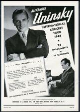 1948 Alexander Uninsky photo piano recital tour booking trade print ad