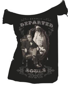 Se7en Deadly Dearly Departed Victorian Skeletons Off Shoulder T Shirt 2032-OS