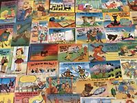 Lot of 50 Linen Humor Comic ~Funny Vintage Cartoon Postcards-unused--b995
