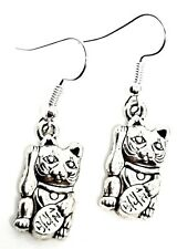 Maneki Earrings Lucky Fortune Cat Japanese Chinese Good Luck Paw 3d Boho Pair