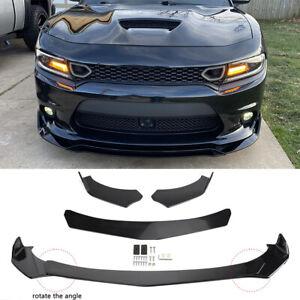For Dodge Charger SRT SXT RT Front Bumper Lip Spoiler Splitters Glossy Black DMS