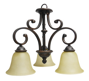 3-Light Chandelier Nook Downlight Rubbed Bronze Finish Tea Stained Glass