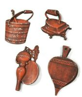 Hoda 4 Pc Metal Wall Hanging Decor Iron Bucket  Hearth Bellows Wall Scone Vtg