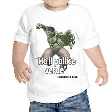 T-Shirt Neonato Ho Il Pollice Verde Cit. Hulk Idea Regalo