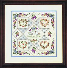 Love Sampler Floral puntada cruzada contada Kit Elsa Williams