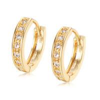 Crystal Small Hoop Huggie Earrings 18K GP Yellow Gold Filled earings Wholesale