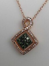 New 10K Rose Gold Green Diamond and White Diamond Pendant with Chain 0.25ct twt