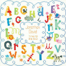 Cross Stitch Kit ~ Dimensions Colorful Alphabet & Animals Birth Record #70-73734